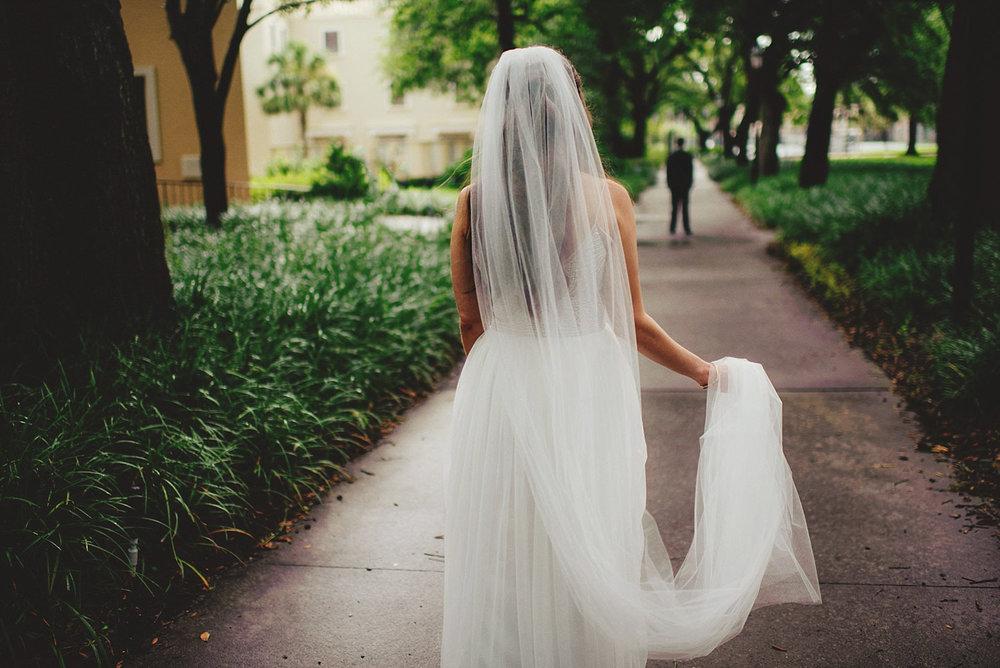 knowles memorial chapel wedding:  bride walking towards groom fo