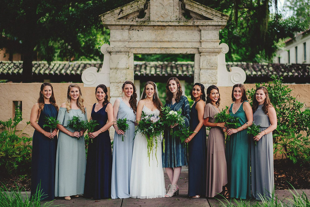 knowles memorial chapel wedding: bride and bridesmaids