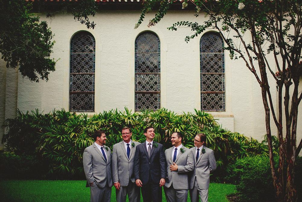 knowles memorial chapel wedding: laughing groomsmen