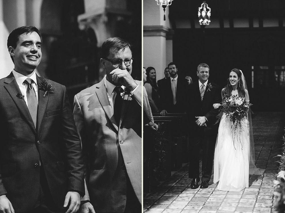 knowles memorial chapel wedding: groom happy to see bride and hi