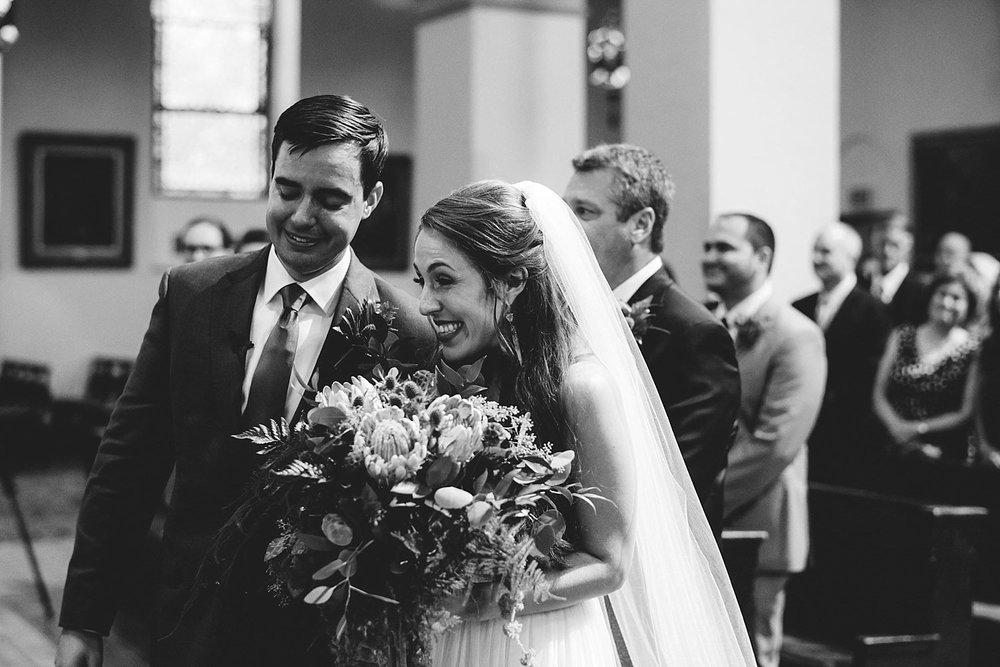 knowles memorial chapel wedding: bride and groom so happy