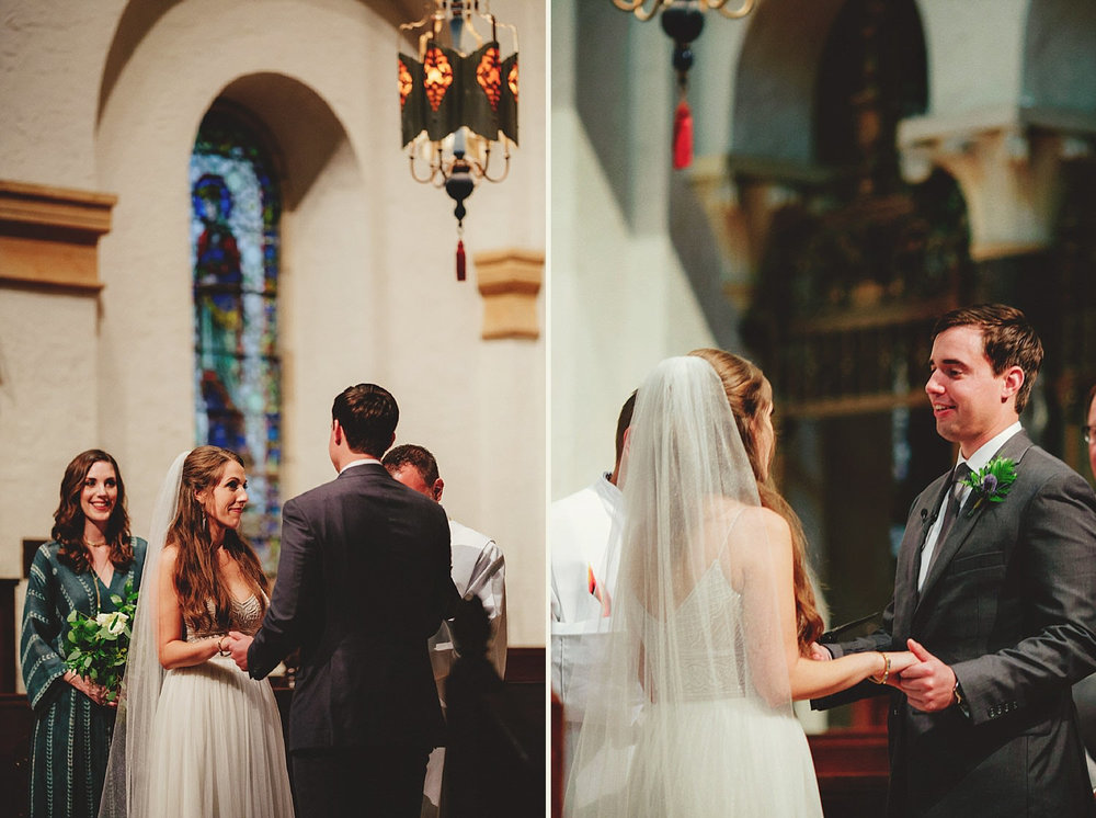 knowles memorial chapel wedding: bride and groom saying vows