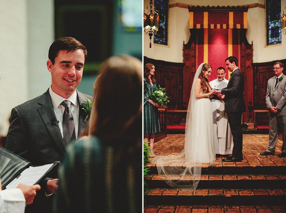 knowles memorial chapel wedding: exchanging rings