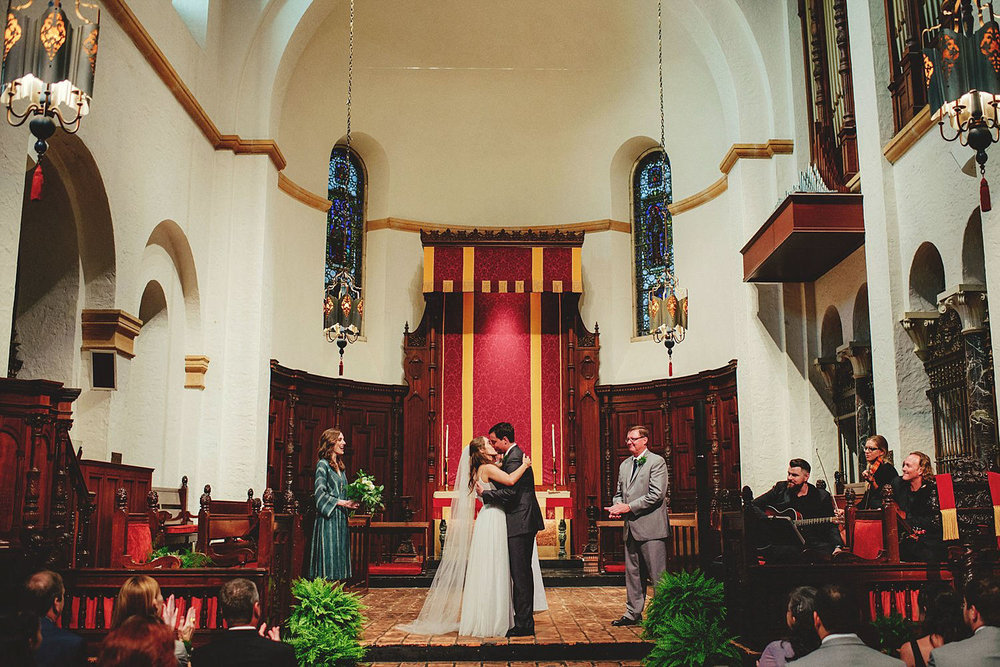 knowles memorial chapel wedding: first kiss