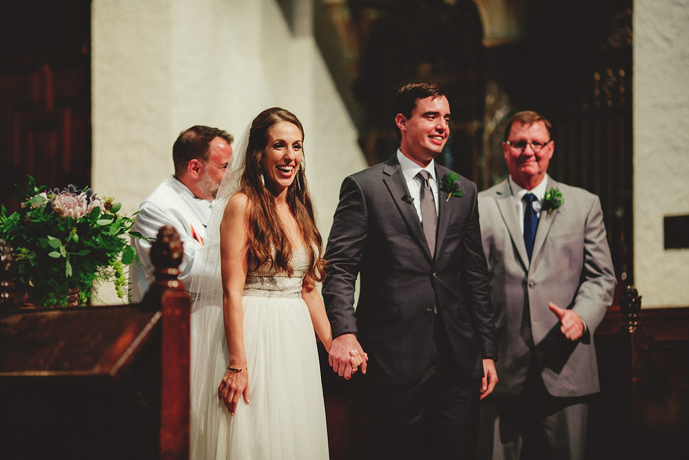 knowles memorial chapel wedding: extremely happy couple