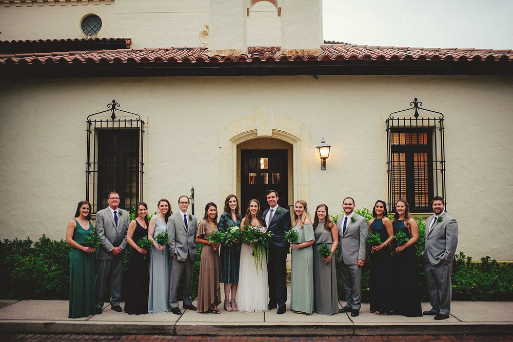 knowles memorial chapel wedding: full bridal party