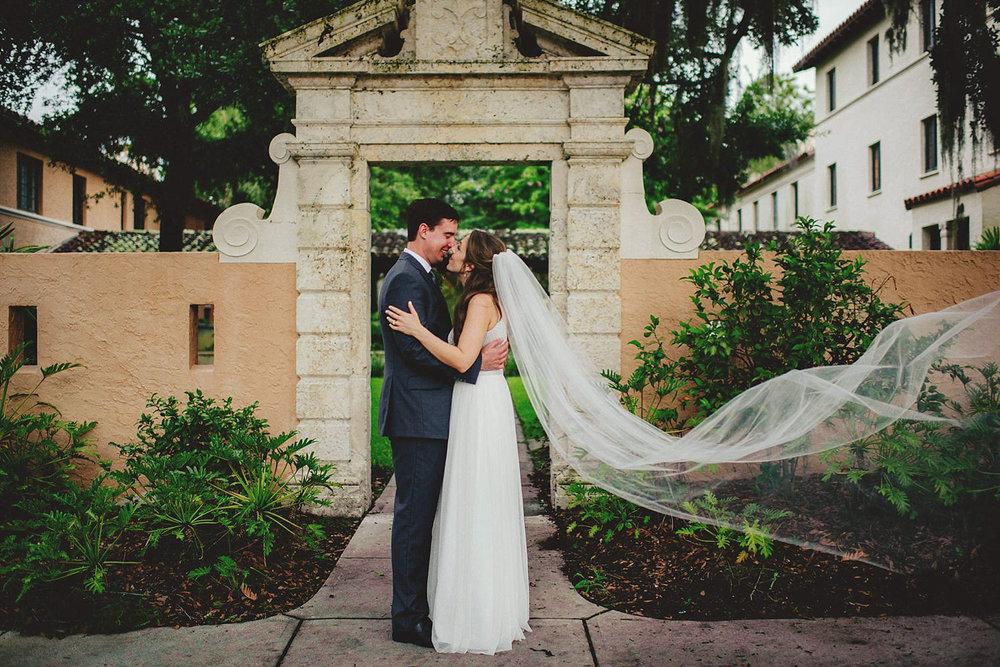 rollins college wind blowing brides veil