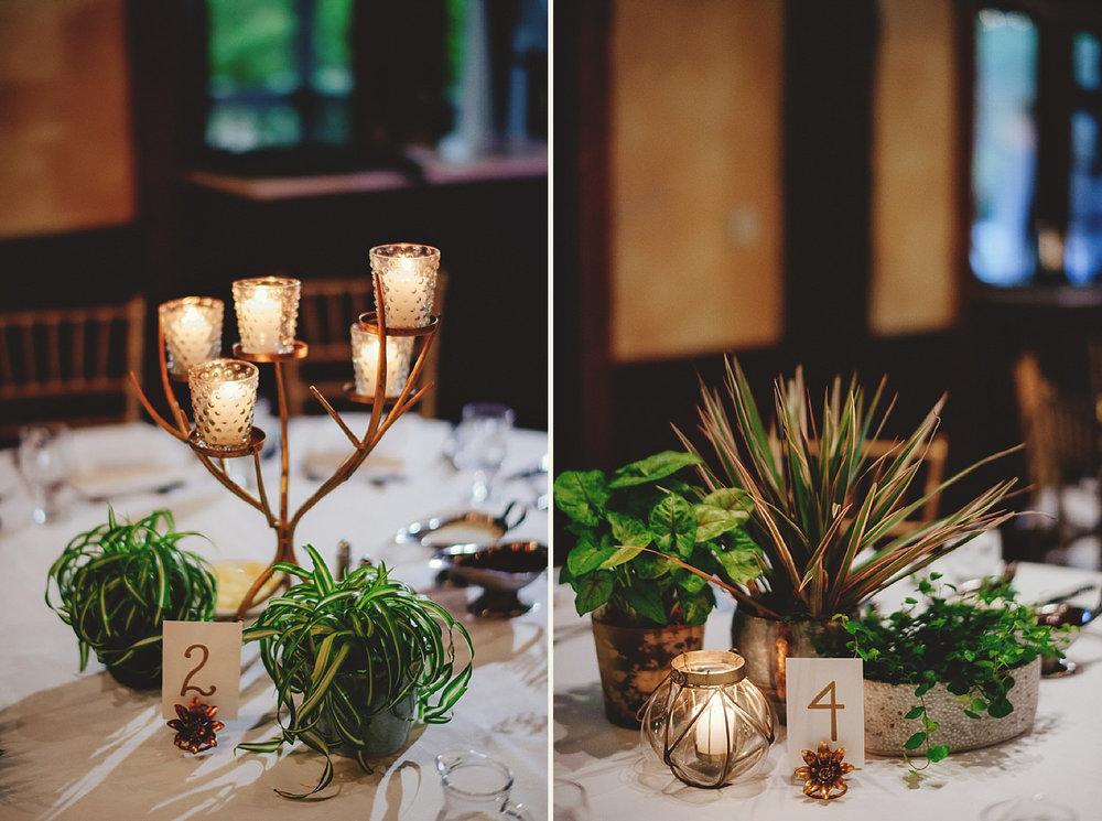 dubsbread wedding reception:  reecption center pieces