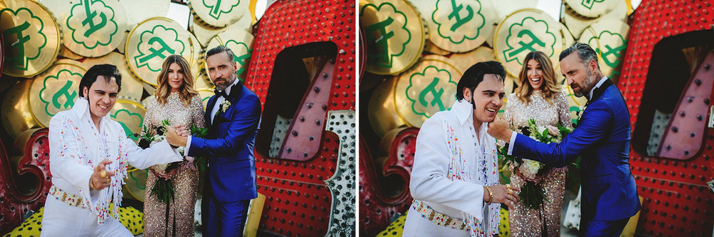 neon museum wedding - portraits with elvis