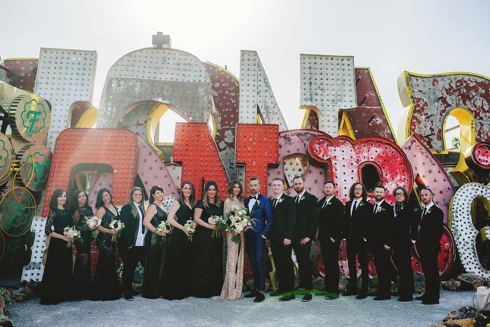 neon museum wedding - bridal party