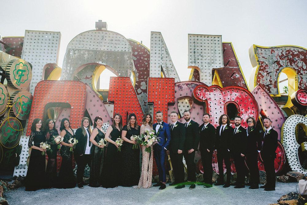 neon museum wedding - bridal party
