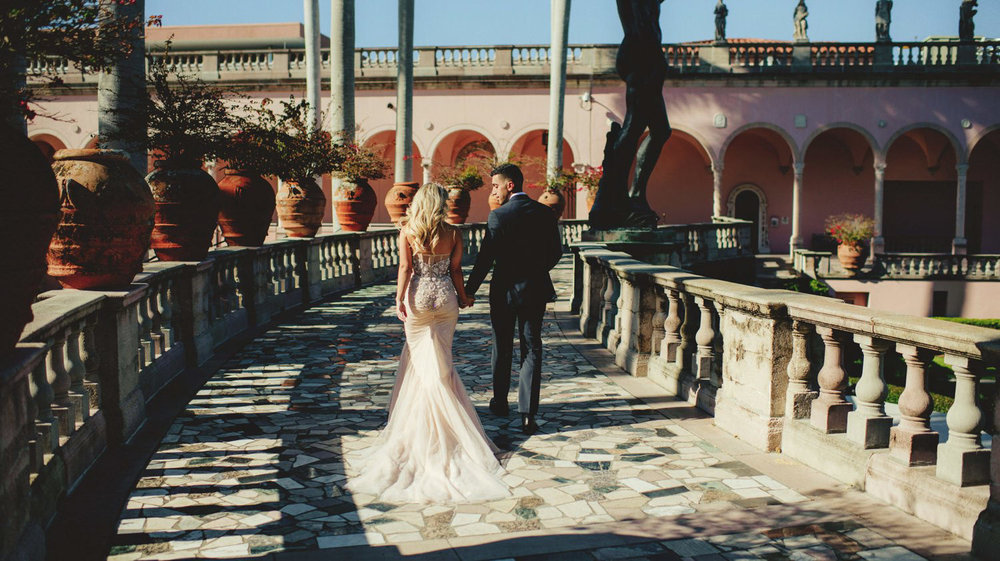 editorial ringling wedding: bride and groom walking
