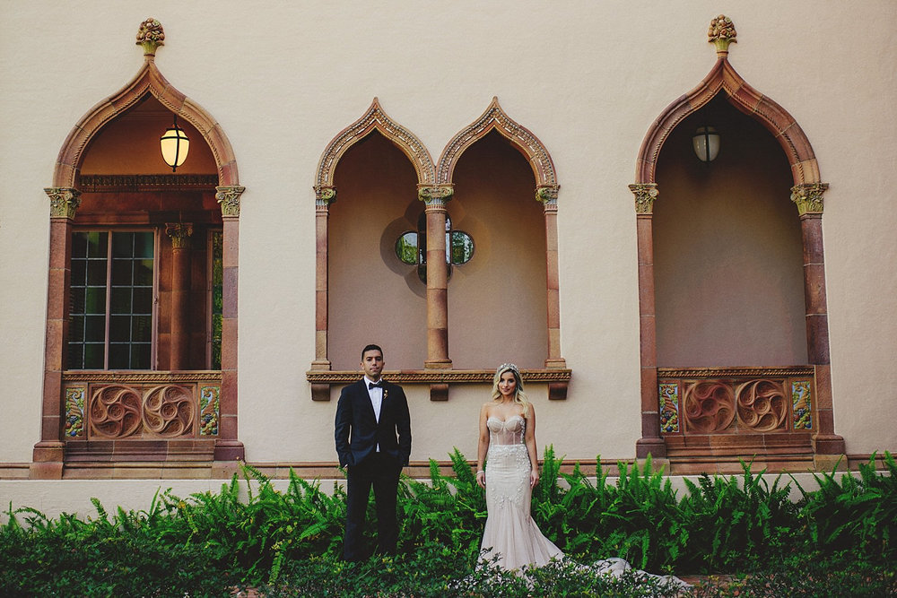 editorial ringling wedding: stoic bride and groom