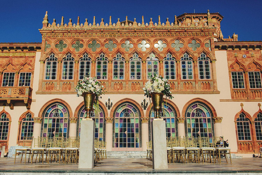 editorial ringling wedding: ceremony set up