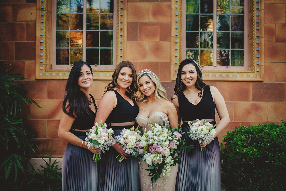 editorial ringling wedding: bride and bridesmaids