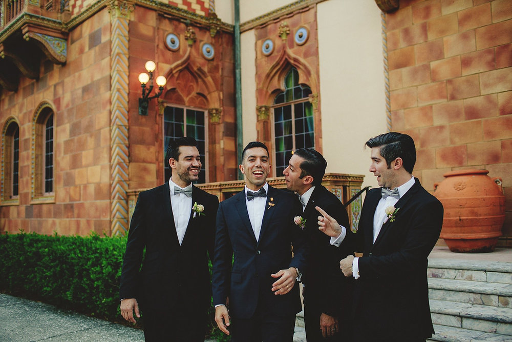 editorial ringling wedding: groom and groomsmen