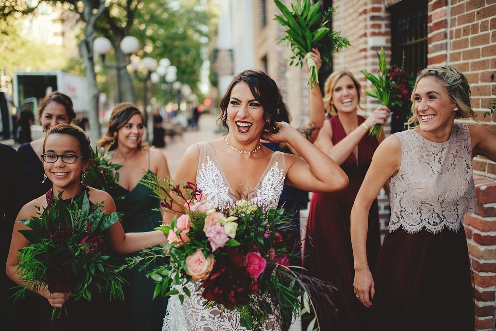 station house wedding bride and bridesmaids walking