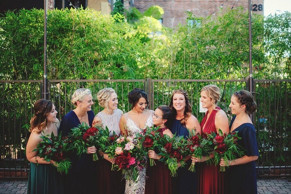 station house wedding bridesmaids laughing