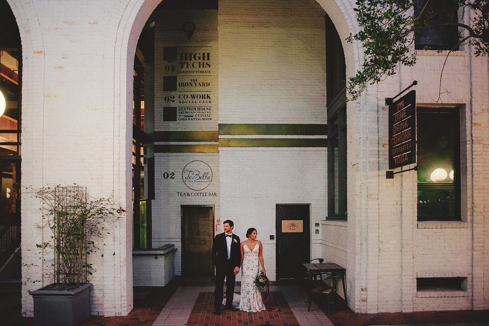 station house wedding front of photos
