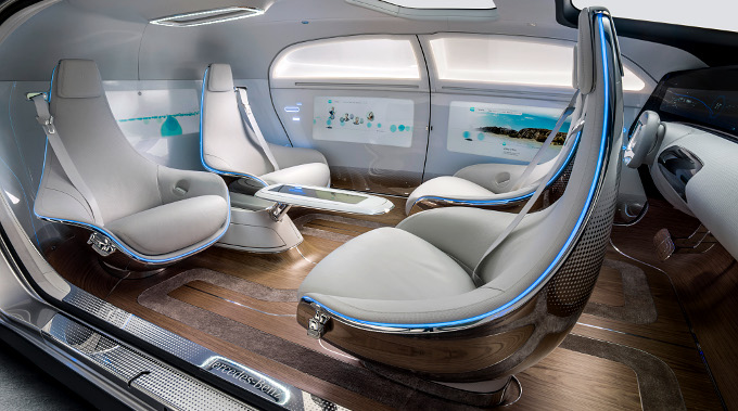 Interior of the Mercedes F 015 Luxury in Motion Research Car (Mercedes)
