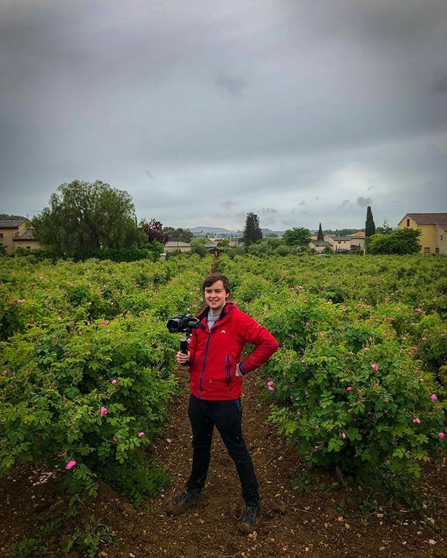 Posing for @cboals in the flower fields of Grasse. You can watch my City of Scents film on any @greatbigstory Chanel! . . . #film #filming #filmmaking #gimble #a7s #grasse #france #rose #mayrose #flowers #perfume