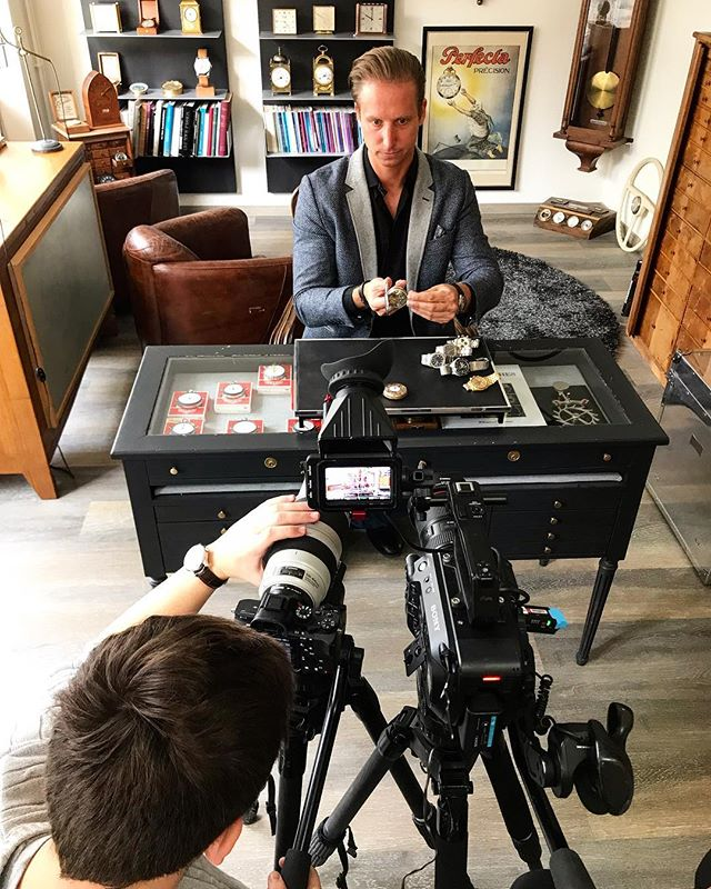 "Filming with some very expensive watches for my film ""The City Of Time"" which has been released today. . . . #film #filming #filmmaking #fs7 #a76 #sony #canon #switzerland #clock #clocks #watch #watches #lachauxdefonds #gbs #greatbigstory 📸 @cboals"