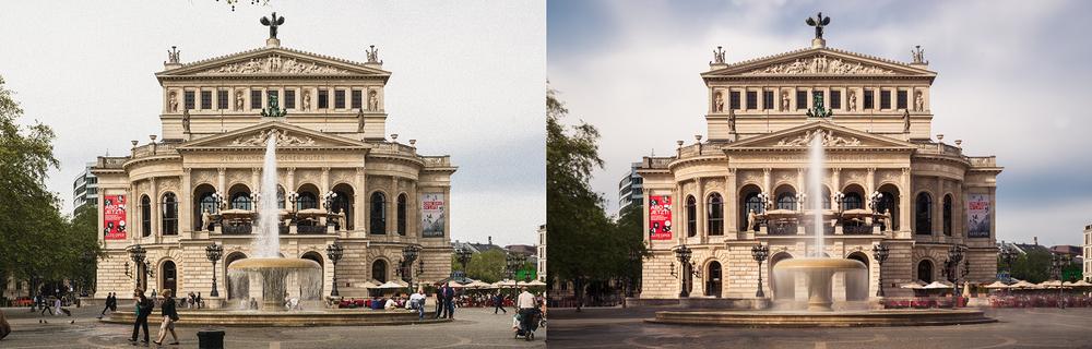 Durch extrem lange Belichtungszeiten wirken öffentliche Plätze wie leergefegt. Links: normales Foto; Rechts: Langzeitbelichtung.