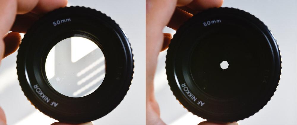 Ein 50mm Festbrennweiten Objektiv mit einer maximalen Offenblende von f/1.4 (links); Rechts wurde diese auf einen Wert von f/11 abgeblendet.