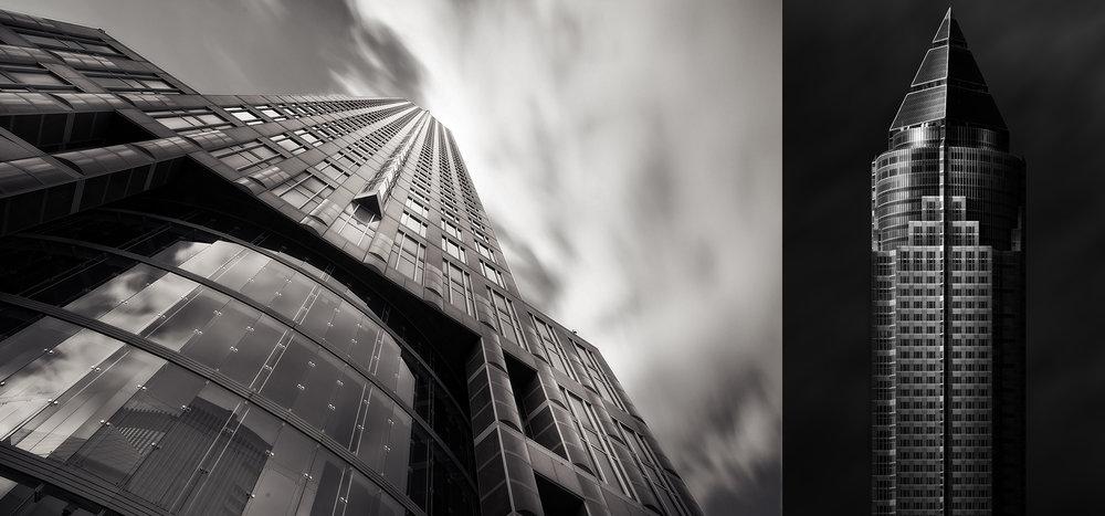 Der Frankfurter Messeturm aus der Nähe fotografiert (links), sowie aus der Ferne (rechts). Die Perspektive hat einen maßgeblichen Einfluss auf die Bildgestaltung, während links Stürzende Linien dominieren und Spannung erzeugen, sind rechts alle Details erkennbar und das Bild wirkt harmonisch.
