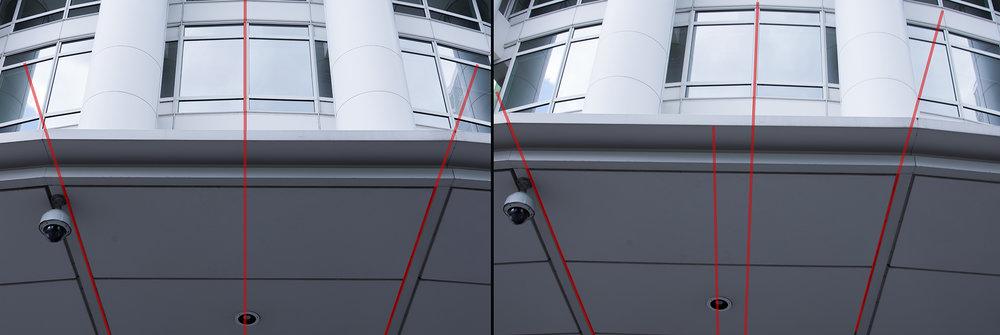 Hinsichtlich der Symmetrie ist der richtige Standort essentiell. Zwischen diesen beiden Bildern liegen gerade mal 40cm Abstand hinsichtlich des Standpunktes.