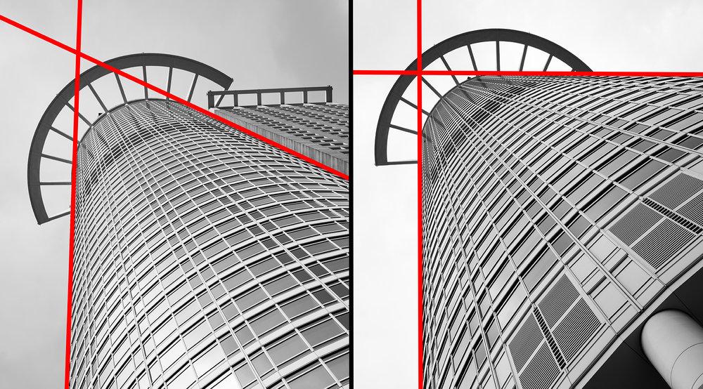 Entfernt man sich vom Motiv werden die Winkel spitzer (links). Geht man auf das Motiv zu so öffnen sich die Winkel (rechts).