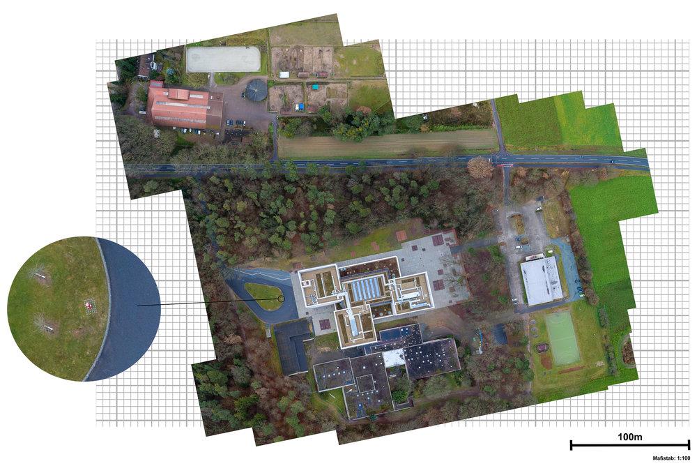 Geländevermessung Immobiliengrundstück UAV Drohne Luftbild-Karte