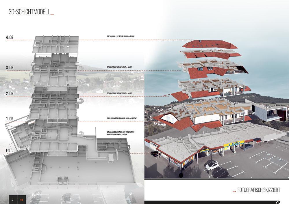 3D Grundriss Schichtmodell (perspektivisches Rendering)
