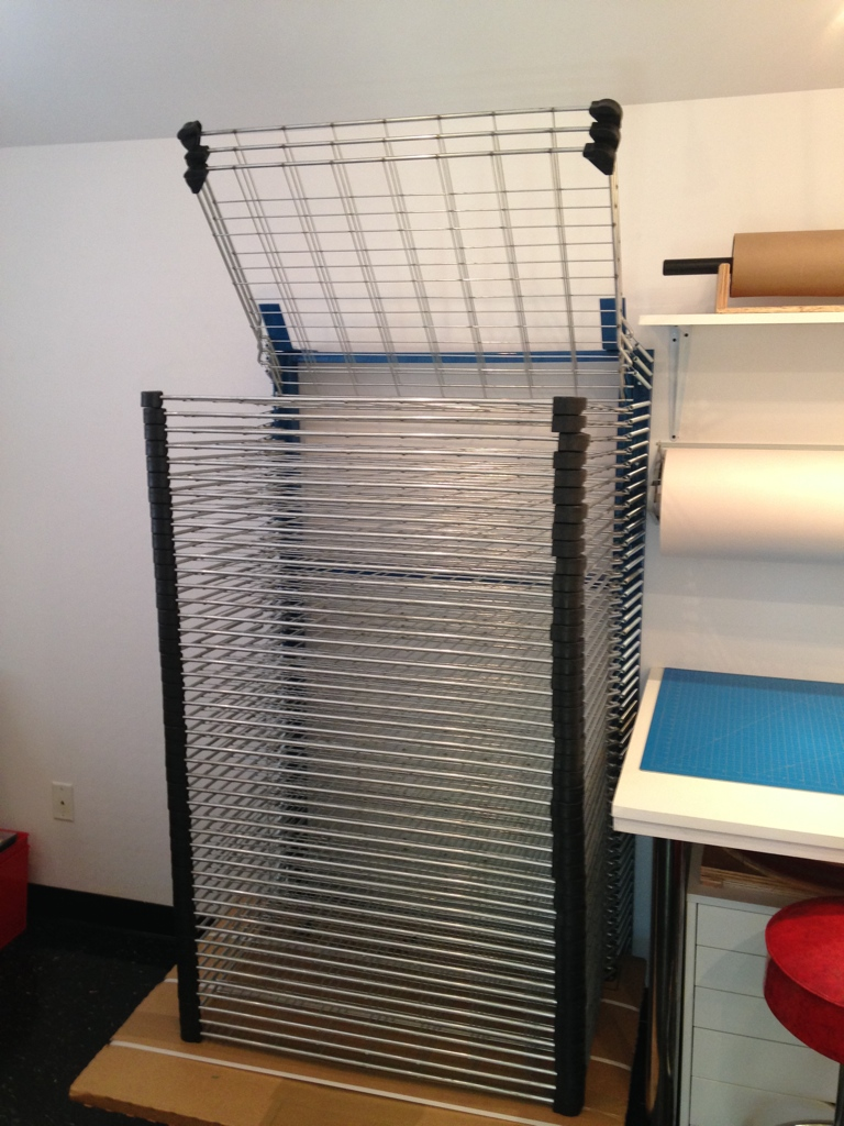 A2 Print Studio drying rack.