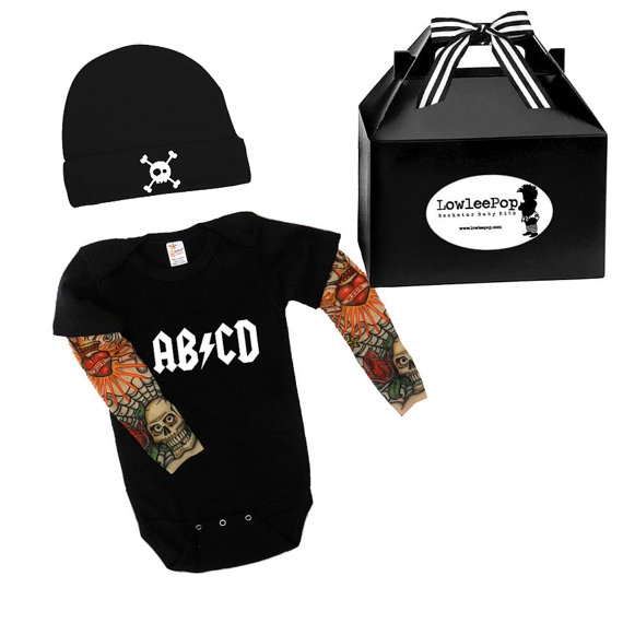 Lowleepop baby suit with tattoo sleeves, hat & gift box