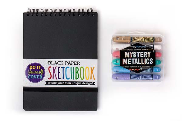 Perfect Combination: Black Paper Sketchbook & Mystery Metallics Gel Crayons