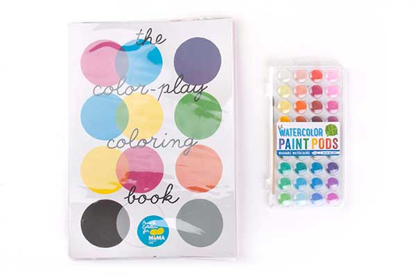 The essentials for this gift: the paint activity book + water color set that includes a brush and built-in palette