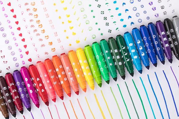 Stampable Washable Markers have a marker tip on one side and a stamp on the other.