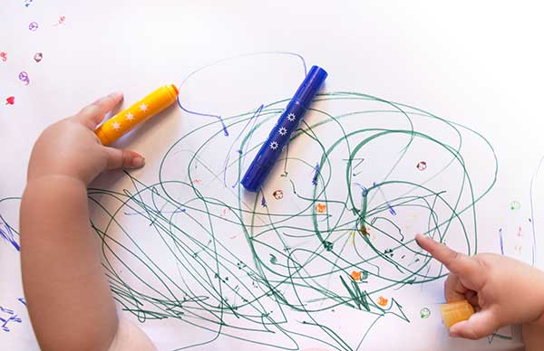 Toddler drawing and stamping with Stampables Markers