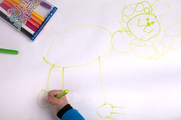 Drawing a lion by himself on paper