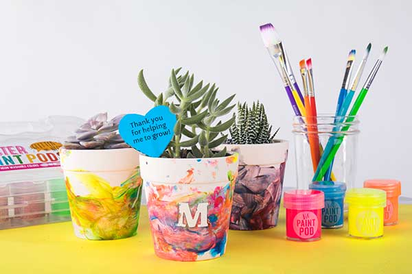 Painted Flower Pots with Initial