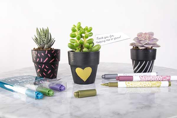 paint pens on flower pots
