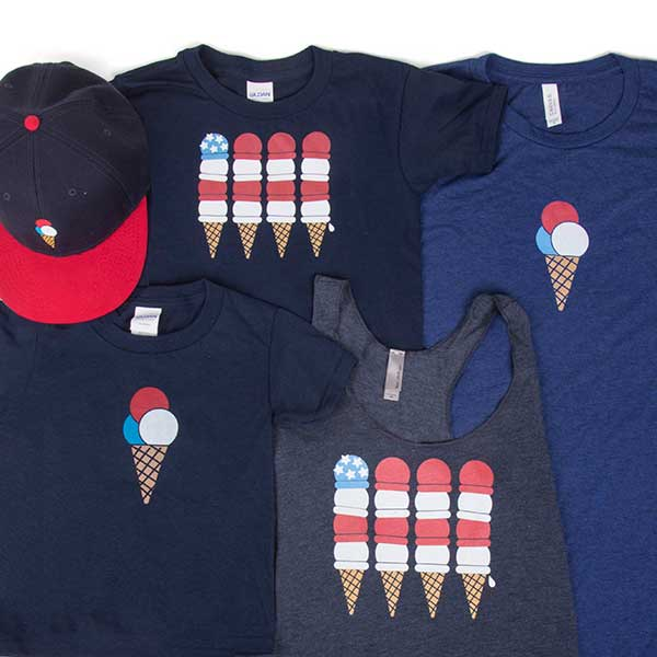 Red White & Blue Ice Cream Shop - T-Shirts, Tank Top & Hat