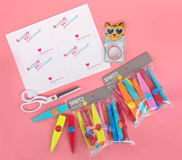 What is needed to make these valentines: The free print, kazoos, scissors, tape