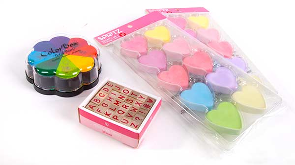 Supplies I used to create the Conversation Heart Chalks: Red Ink Pad, Stamps, Heart-Shaped Chalk
