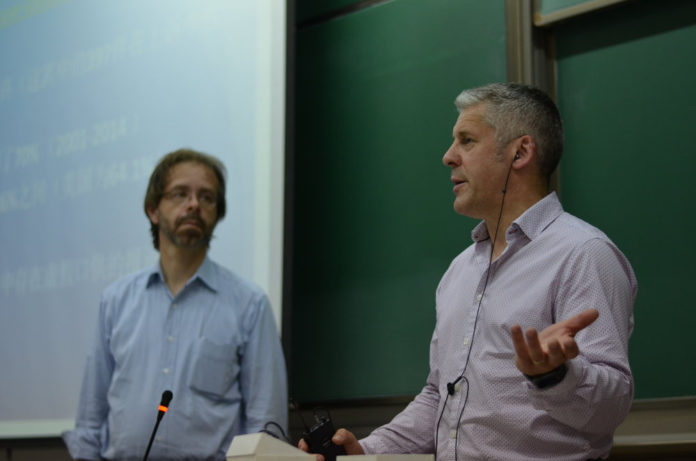 (L-R): Professor Richard Leo and Dr. Andy Griffiths presenting at People's Public Security University.