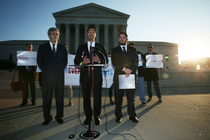 U.S. Rep. Joaquin Castro (D-TX) (C) speaks as Rep. Ruben Gallego (D-AZ) (R) and Mexican American Legal Defense and Education Fund President and General Counsel Thomas Saenz (L) listen during a news conference in front of the Supreme Court on Dec. 8, 2015 in Washington, DC. The Congressional Hispanic Caucus held the news conference on the day the Supreme Court hears oral arguments on Evenwel v. Abbott.     CreditAlex Wong/Getty Images