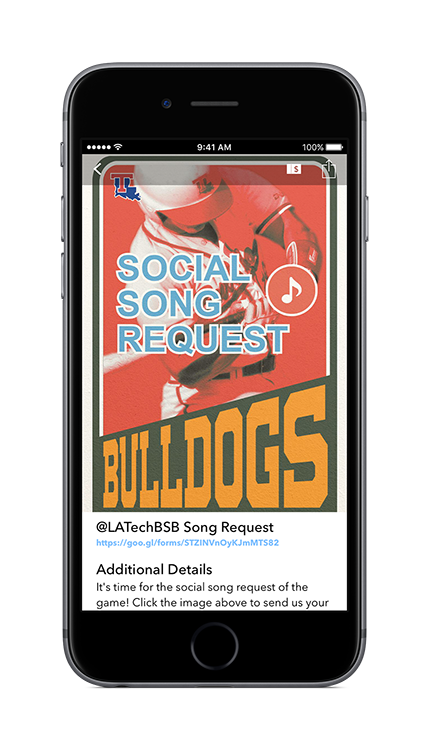 For the 2017 baseball season, Louisiana Tech introduced a new wrinkle into their app for fans - song requests!   Image courtesy David Pillen