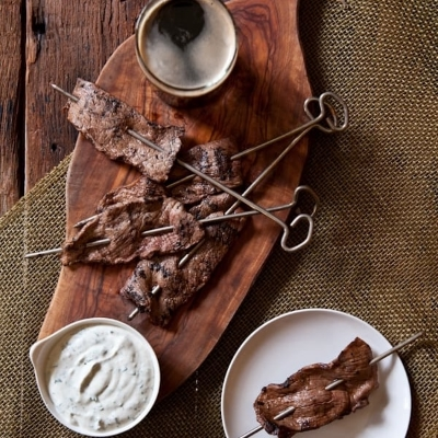 Porter Marinated Steak Skewers