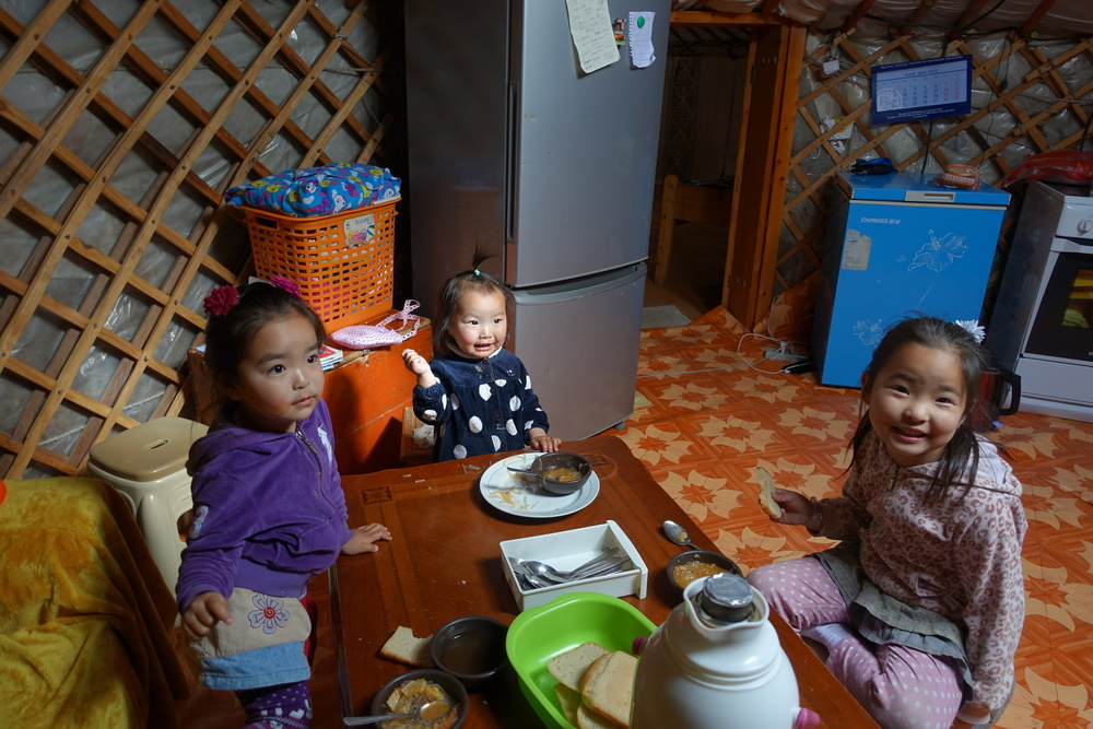 Inside a family guest house. While tourists get immersed into Mongolian culture, children widen their horizons.